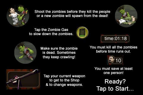 Screenshots of the Adventures of the Zombie sniper game for iPhone, iPad or iPod.