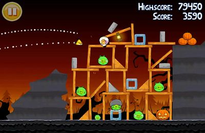 Screenshots of the Angry Birds Halloween game for iPhone, iPad or iPod.