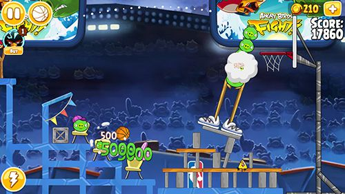 Screenshots of the Angry birds: NBA the finals game for iPhone, iPad or iPod.