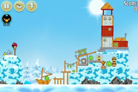 Screenshots vom Spiel Angry birds: On Finn ice für iPhone, iPad oder iPod.
