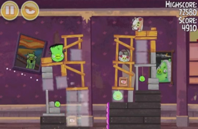 Screenshots do jogo Angry Birds Seasons: Haunted hogs para iPhone, iPad ou iPod.