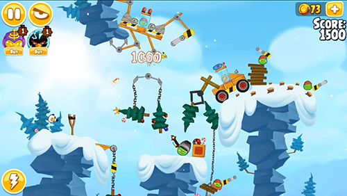Screenshots do jogo Angry birds. Seasons: Ski or squeal para iPhone, iPad ou iPod.