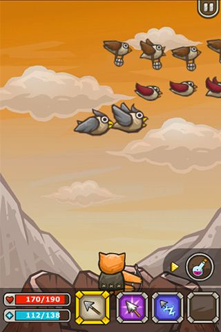 Screenshots of the Archer cat game for iPhone, iPad or iPod.