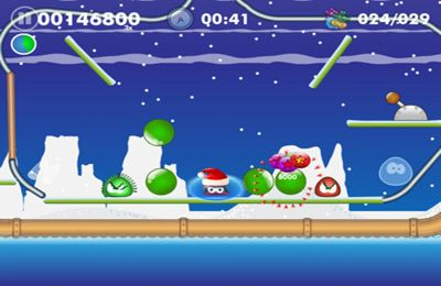 Screenshots of the Blobster Christmas game for iPhone, iPad or iPod.