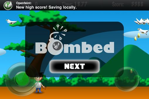 Screenshots of the Bomber dove game for iPhone, iPad or iPod.
