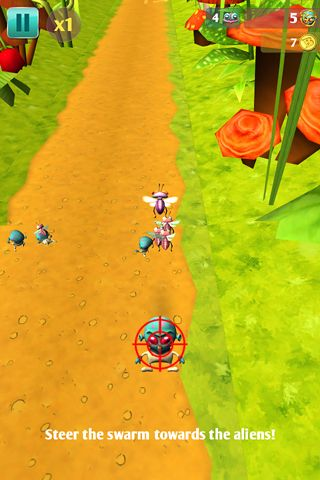 Screenshots of the Bugs vs. aliens game for iPhone, iPad or iPod.