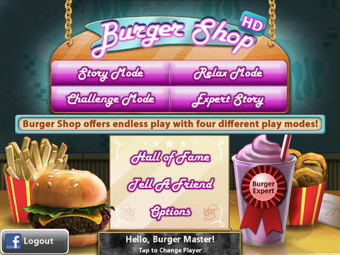 Screenshots of the Burger shop game for iPhone, iPad or iPod.