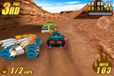 Écrans du jeu Burning tires pour iPhone, iPad ou iPod.