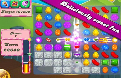 Écrans du jeu Candy Crush Saga pour iPhone, iPad ou iPod.