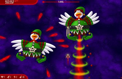 Écrans du jeu Chicken Invaders 3 Revenge of the Yolk Christmas Edition pour iPhone, iPad ou iPod.