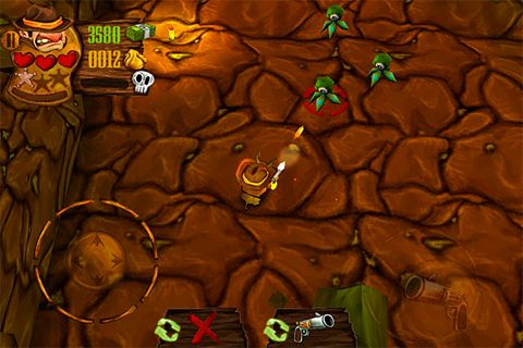 Screenshots of the Cowboy vs. ninjas vs. aliens game for iPhone, iPad or iPod.