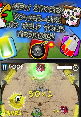 Screenshots of the Cows vs. Aliens game for iPhone, iPad or iPod.