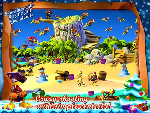 Screenshots of the Crazy Chicken: Pirates - Christmas Edition game for iPhone, iPad or iPod.