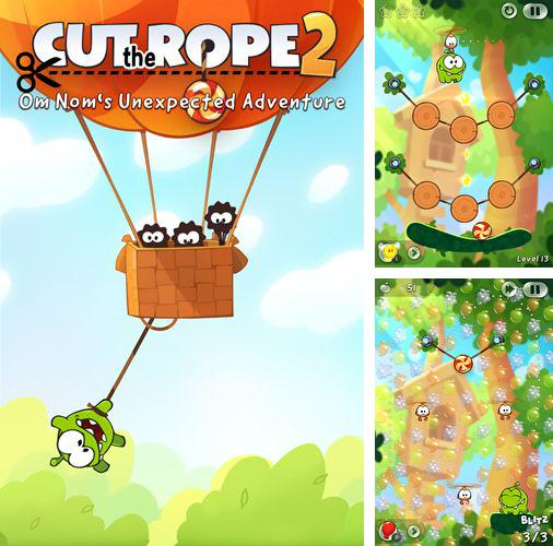除了 iPhone、iPad 或 iPod  滑水道2游戏,您还可以免费下载Cut the rope 2: Om-Nom's unexpected adventure, 。