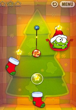 Скриншот игры Cut the Rope Holiday Gift на Айфон.
