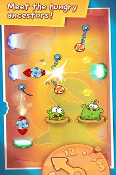 Screenshots do jogo Cut the Rope: Time Travel para iPhone, iPad ou iPod.