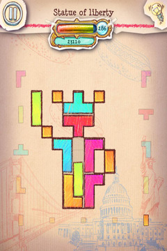 iPhone、iPad または iPod 用Doodle Fit 2: Around the Worldゲームのスクリーンショット。