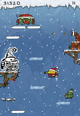 Screenshots of the Doodle Jump Christmas Special game for iPhone, iPad or iPod.