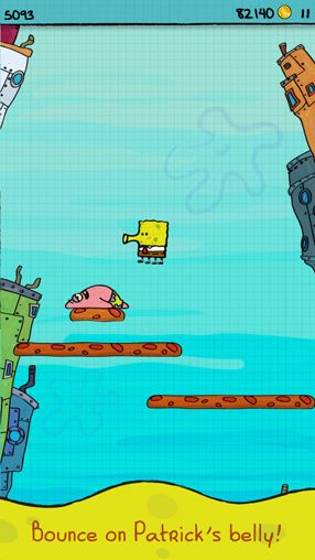 Descarga gratuita de Doodle Jump Sponge Bob Square pants para iPhone, iPad y iPod.