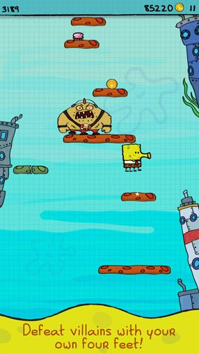 Capturas de pantalla del juego Doodle Jump Sponge Bob Square pants para iPhone, iPad o iPod.