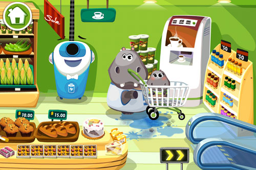 Screenshots of the Dr. Panda's supermarket game for iPhone, iPad or iPod.
