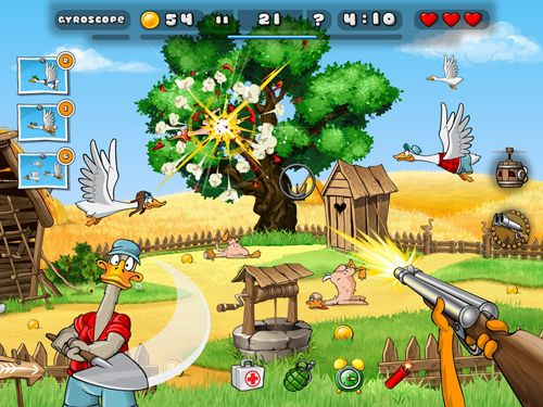 Écrans du jeu Duck destroyer pour iPhone, iPad ou iPod.