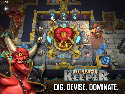 Écrans du jeu Dungeon Keeper pour iPhone, iPad ou iPod.