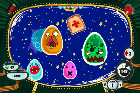 Écrans du jeu Eggs in space pour iPhone, iPad ou iPod.