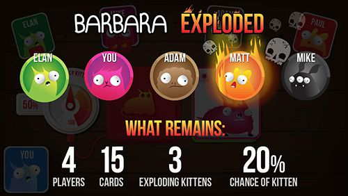 Screenshots of the Exploding kittens game for iPhone, iPad or iPod.