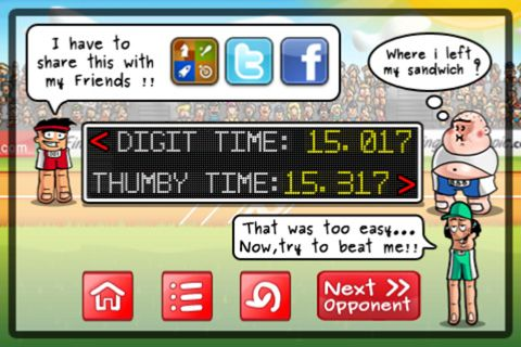 Screenshots of the Finger olympic game for iPhone, iPad or iPod.