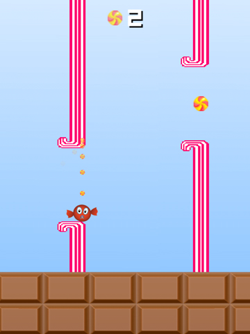 Capturas de pantalla del juego Flappy candy para iPhone, iPad o iPod.