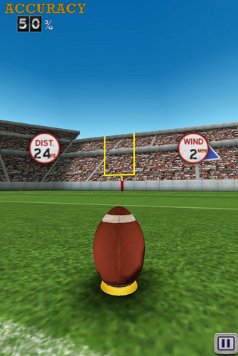Écrans du jeu Flick kick field goal pour iPhone, iPad ou iPod.