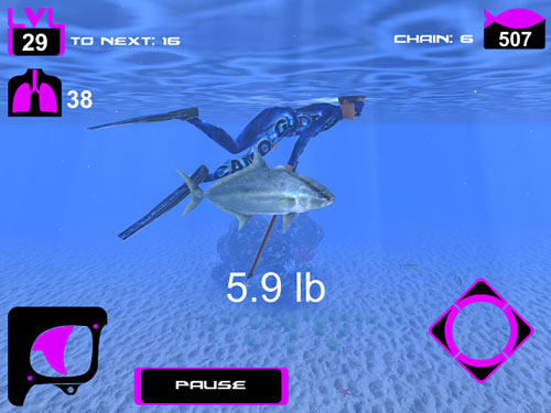 Screenshots vom Spiel Freediving: Hunter für iPhone, iPad oder iPod.
