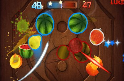 Screenshots of the Fruit Ninja game for iPhone, iPad or iPod.