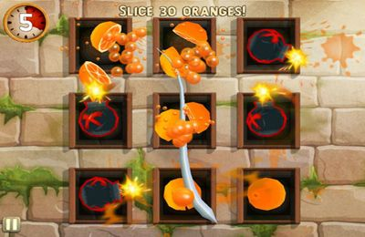 Screenshots do jogo Fruit Ninja: Puss in Boots para iPhone, iPad ou iPod.