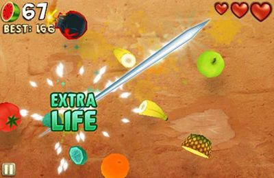 Скриншот игры Fruit Ninja: Puss in Boots на Айфон.