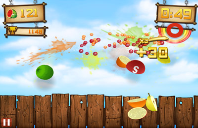 Descarga gratuita de Fruit Ninja vs Skittles para iPhone, iPad y iPod.