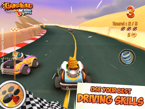 Free Garfield Kart download for iPhone, iPad and iPod.