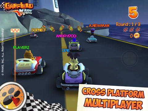 Screenshots of the Garfield Kart game for iPhone, iPad or iPod.