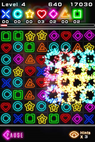 Écrans du jeu Glow jeweled pour iPhone, iPad ou iPod.