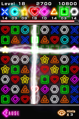 Screenshots of the Glow jeweled game for iPhone, iPad or iPod.