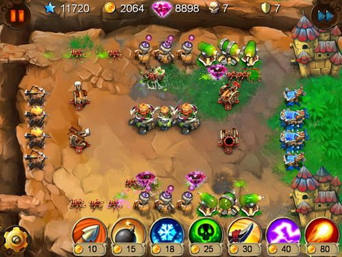 iPhone、iPad または iPod 用Goblin defenders: Steel and woodゲームのスクリーンショット。