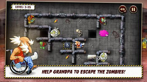 Screenshots vom Spiel Grandpa and the zombies: Take care of your brain! für iPhone, iPad oder iPod.
