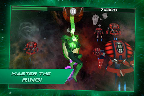 iPhone、iPad または iPod 用Green lantern: Rise of the manhuntersゲームのスクリーンショット。