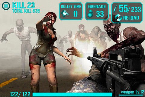 Screenshots of the iGun zombie game for iPhone, iPad or iPod.