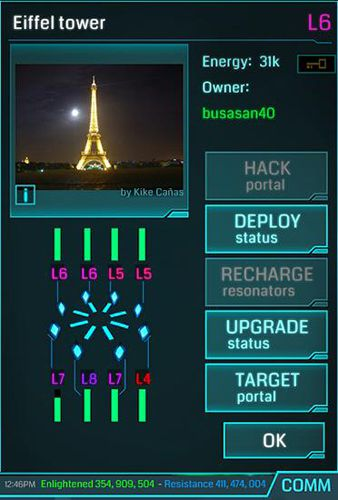 Screenshots of the Ingress game for iPhone, iPad or iPod.