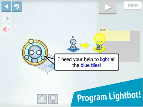 Screenshots of the Lightbot game for iPhone, iPad or iPod.