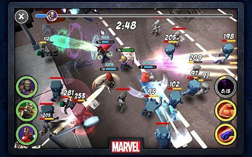 Screenshots vom Spiel Marvel: Mighty heroes für iPhone, iPad oder iPod.