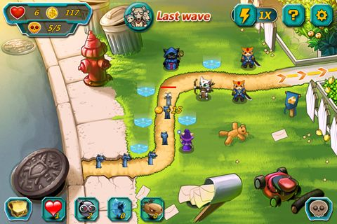 Screenshots of the Meow defense game for iPhone, iPad or iPod.