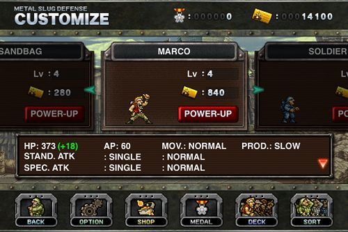 Screenshots of the Metal slug: Defense game for iPhone, iPad or iPod.